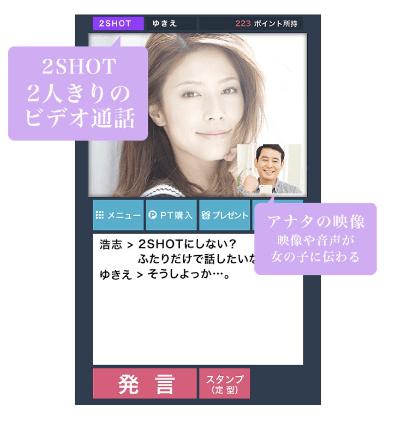 彩色健美アプリ 2ショットチャット 画面